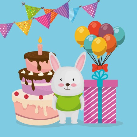 cute and little bunny with cake and gift vector illustration design