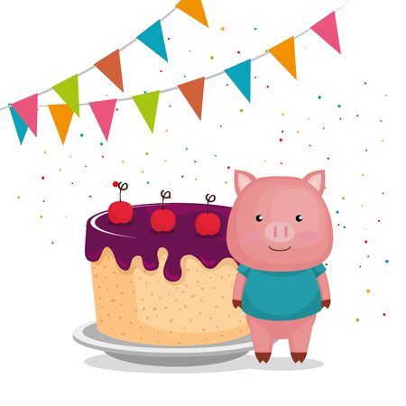 cute and little pig with cake vector illustration design