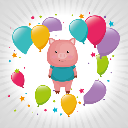 cute and little pig with balloons helium vector illustration design