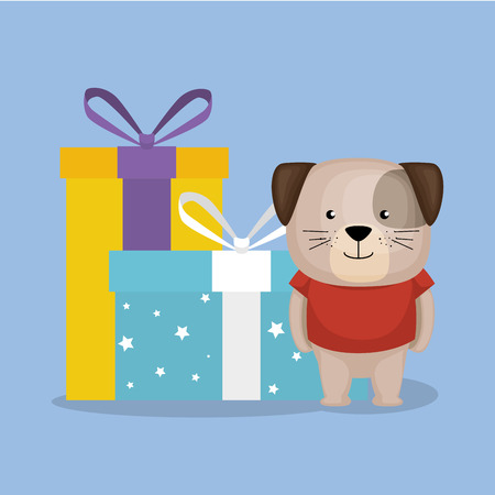 cute and little doggy with gifts vector illustration design