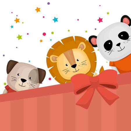 cute and little animals group vector illustration design Illustration