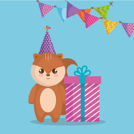 cute and little chipmunk with gift vector illustration design
