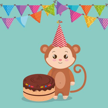 cute and little monkey with cake vector illustration design Ilustración de vector