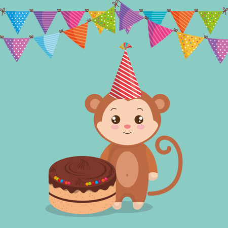 cute and little monkey with cake vector illustration design