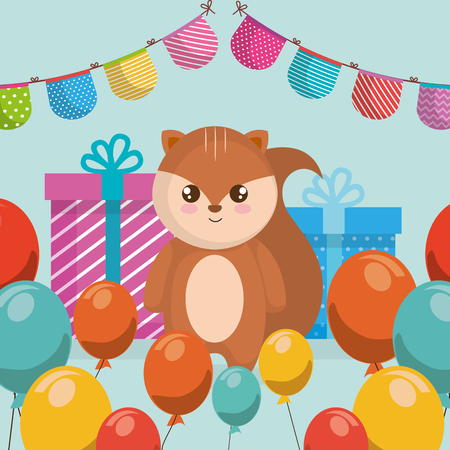 cute and little chipmunk with gifts and garlands vector illustration design