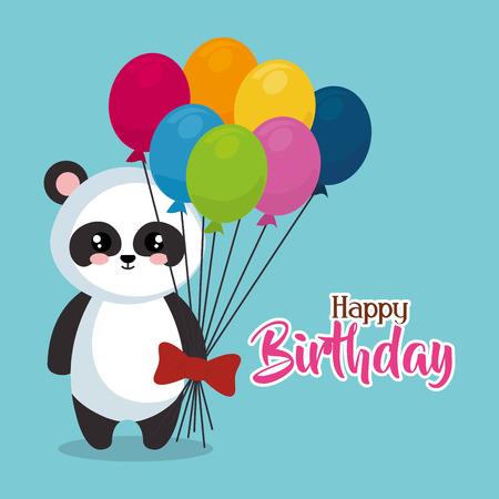 Ours mignon panda avec des ballons hélium conception d'illustration vectorielle