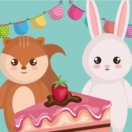 cute and little rabbit and chipmunk with cake vector illustration design