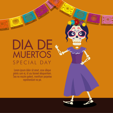 catrina with flowers hairstyle and dress to celebration event vector illustration Иллюстрация