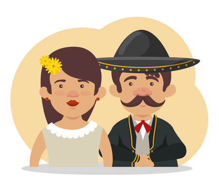 mariachi man with woman to day of the dead celebration vector illustration Illustration