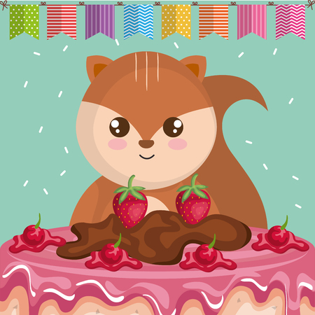 Cute and little chipmunk with sweet cake