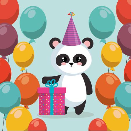 cute bear panda with balloons helium vector illustration design