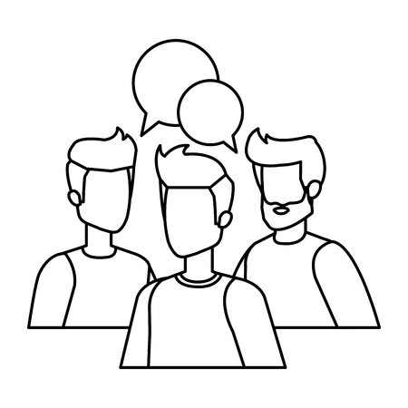 group of men with speech bubble vector illustration design Stock fotó - 126101481