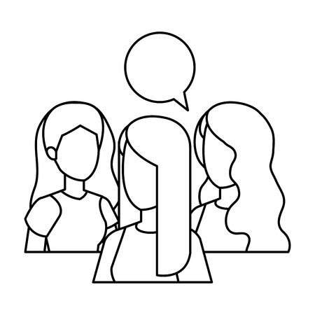group of girls with speech bubble vector illustration design