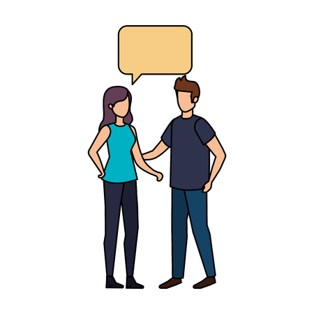 young couple with speech bubble characters vector illustration design Stock Illustratie