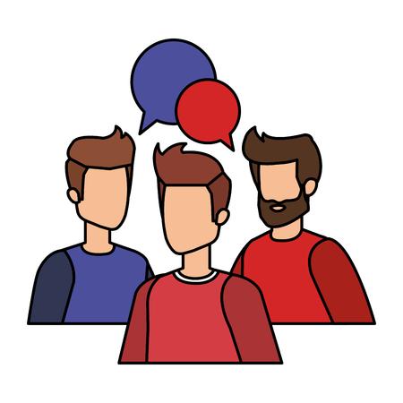 group of men with speech bubble vector illustration design Illusztráció