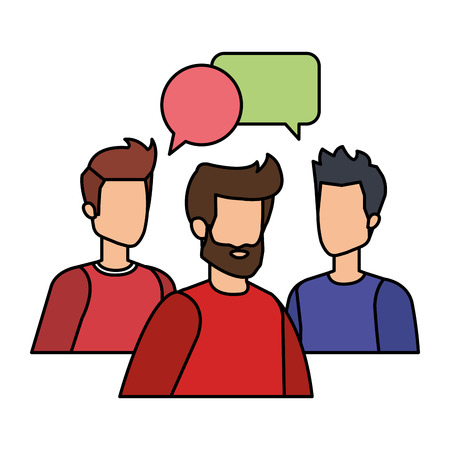 group of men with speech bubble vector illustration design