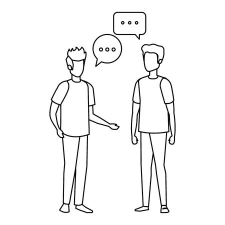 paar mannen met tekstballon vector illustratie ontwerp Vector Illustratie