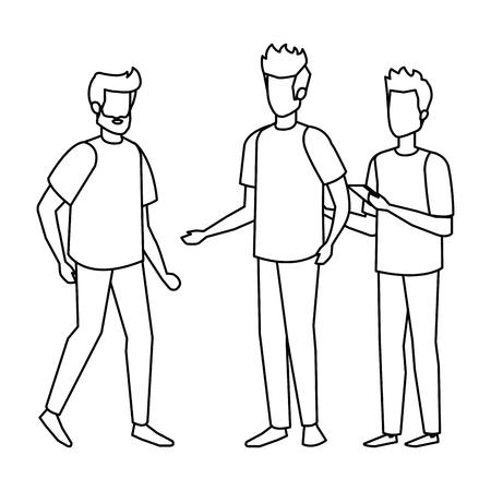 group of men avatars characters vector illustration design