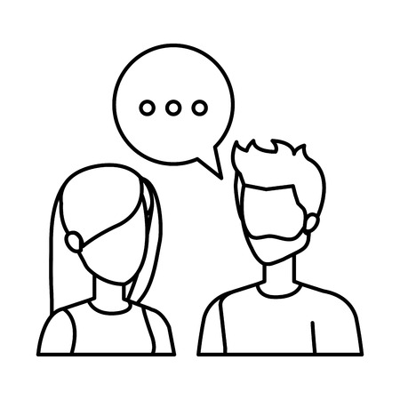 young couple with speech bubble characters vector illustration design