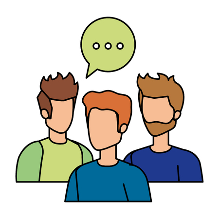 group of men with speech bubble vector illustration design Stock Illustratie