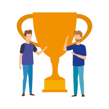 trophy cup award with businessmen vector illustration design