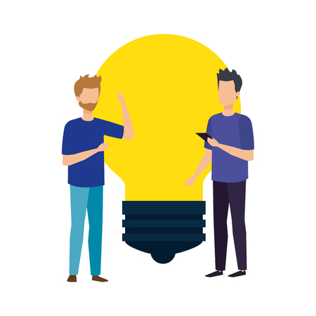 bulb light with business person vector illustration design
