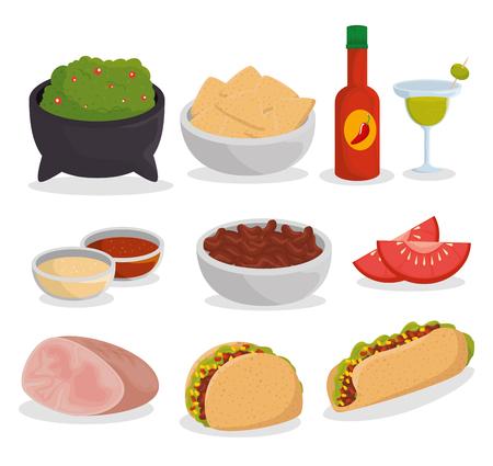 impostare il cibo messicano tradizionale per l'illustrazione vettoriale della celebrazione dell'evento Vettoriali
