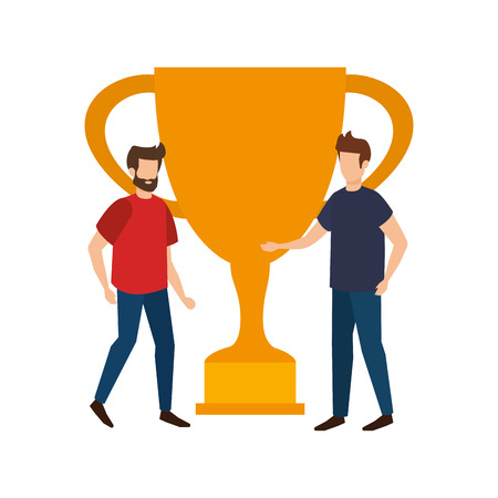 trophy cup award with businessmen vector illustration design