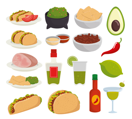 set traditional mexico food to celebration event vector illustration