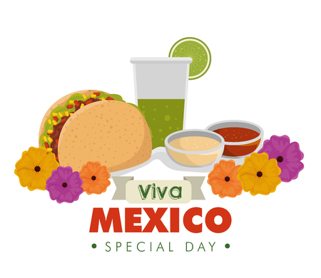 tacos with tequila glass and flowers to event vector illustration Иллюстрация