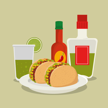tequila bottle with tacos to day of the dead celebration vector illustration
