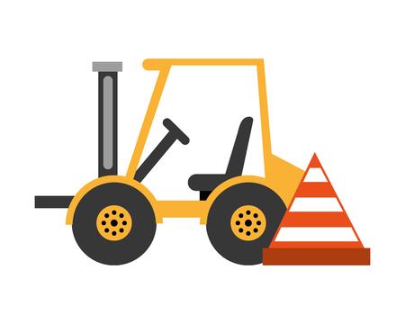 forklift machine and cone construction equipment design vector illustration Illustration