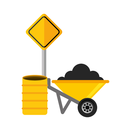 wheelbarrow barrel and sign construction equipment design vector illustration Çizim