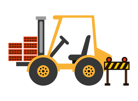 forklift bricks and barrier construction equipment design vector illustration Ilustracja