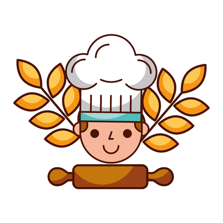 chef rolling pin bread bakery kitchen vector illustration