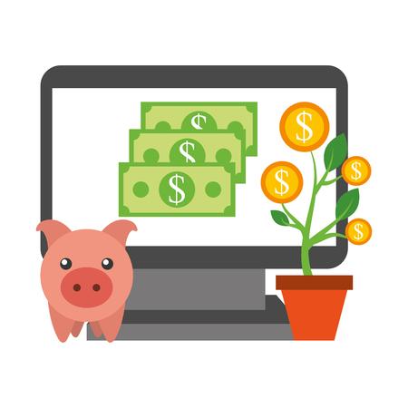 laptop piggy bank plant coins money business vector illustration