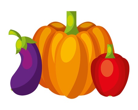 pumpkin eggplant and pepper vegetables food health vector illustration Ilustração