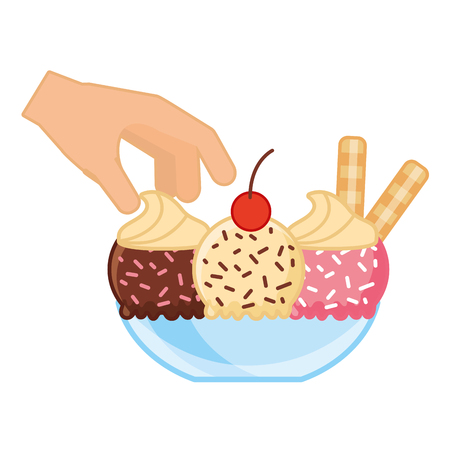 hand with ice cream on bowl vector illustration Illustration