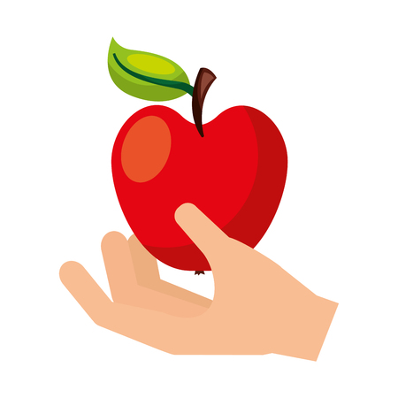 hand with fresh apple fruit vector illustration