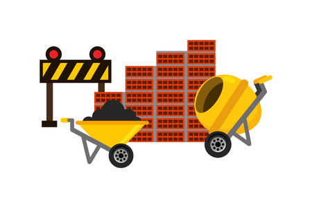 wheelbarrow mixer barrier and wall brick construction equipment vector illustration