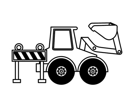 bulldozer barrier construction equipment design vector illustration