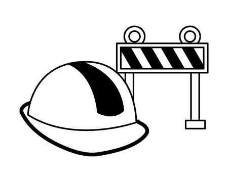 barrier helmet construction equipment design vector illustration