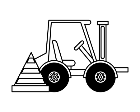 forklift machine and cone construction equipment design vector illustration 向量圖像