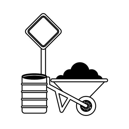 wheelbarrow barrel and sign construction equipment design vector illustration 向量圖像