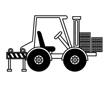 forklift bricks and barrier construction equipment design vector illustration Ilustração