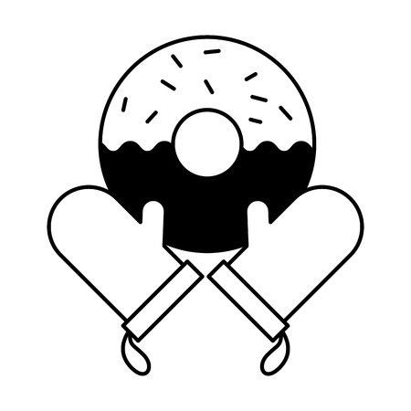 gloves donut bread bakery kitchen vector illustration Illustration