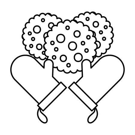 gloves cookies bread bakery kitchen vector illustration