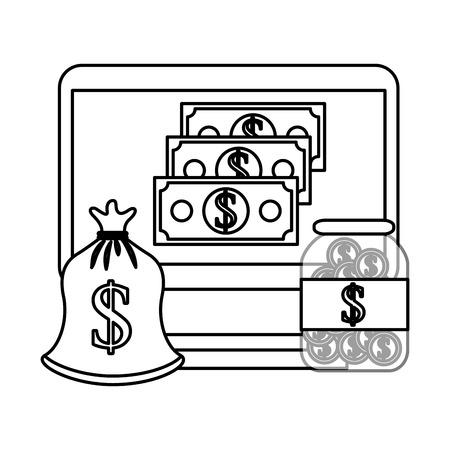 laptop money bag coins money business vector illustration Ilustracja