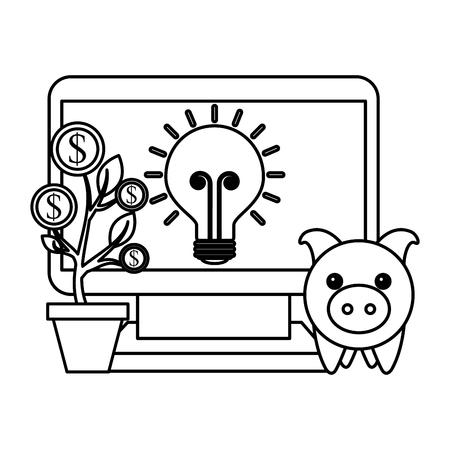 laptop piggy bank bulb idea plant coins money business vector illustration