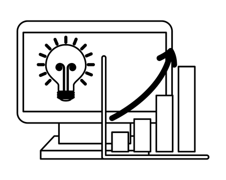 computer business statistic diagram bulb vector illustration